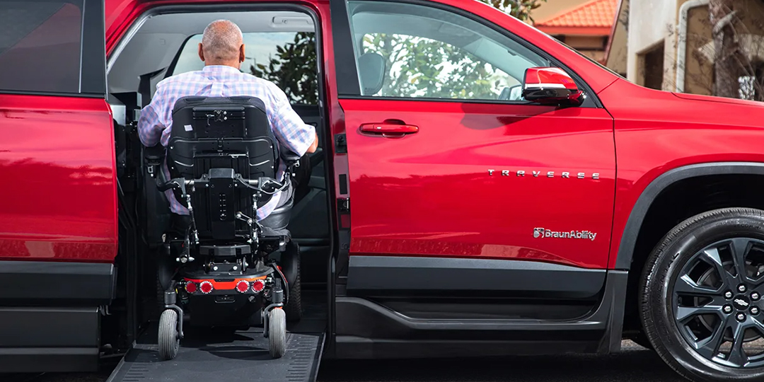 Handicap Accessible SUV Chevy Traverse BraunAbility with Wheelchair User