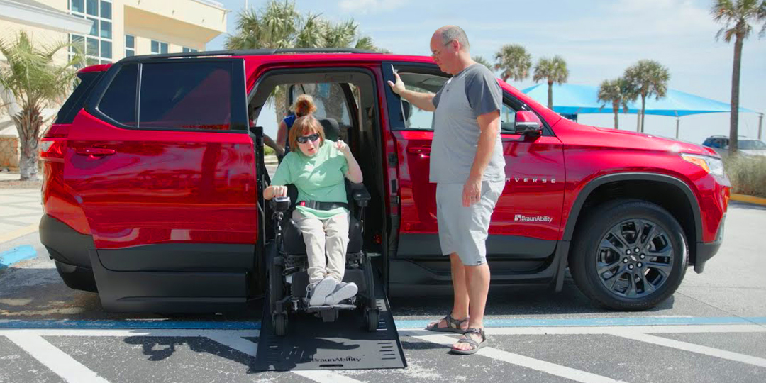 Wheelchair Accessible SUV BraunAbility Chevy Traverse with Wheelchair User