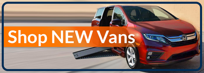 "New wheelchair vans for sale in Florida reads ""Shop New Vans"""