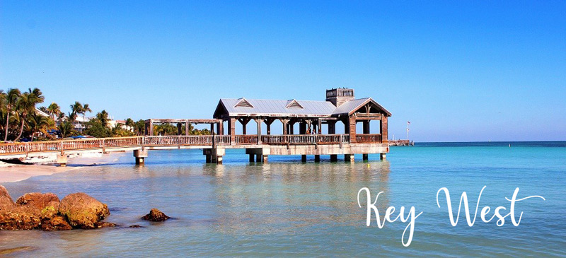 Key West beach with wheelchair accessible pavilion over the water