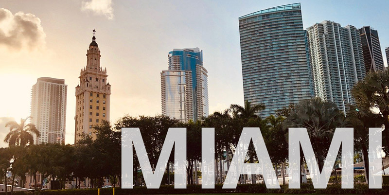 Miami at Sunset reads MIAMI and shows wheelchair accessible open city